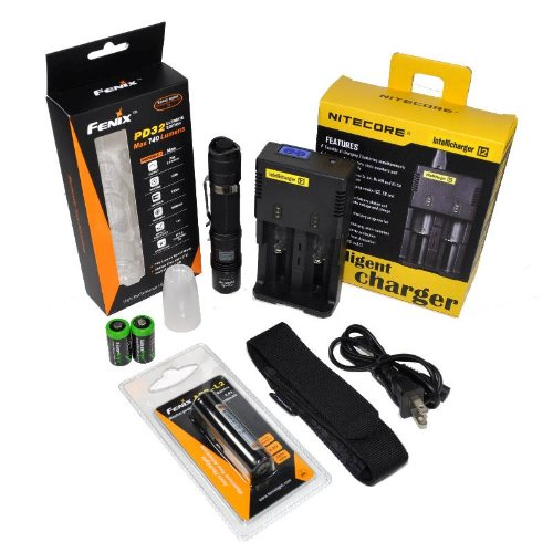 Fenix PD32 UE Ultimate Edition 740 Lumen CREE XM-L T6 LED Tactical Flashlight with Genuine Fenix ARB-L2 18650 2600mAh Li-ion rechargeable battery, Nitecore i2 intelligent Charger, Customized Diffuser Tip and 2 X EdisonBright CR123A Lithium batteries package