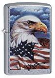 Zippo Mazzi Bald Eagle with Flag Pocket Lighter, Street Chrome