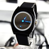 Caleen6 Fashion Concept Black Rubber Strap Blue LED Laser Pointer Creative Ultra-thin Watch Mirror