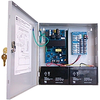 P Model AL300ULPD8 power supply charger converts a 115VAC 60Hz input, to a 2.5 amp of continuous supply current   12VDC or 24VDC distributed via eight  8  fuse protected Class 2 Rated power limited outputs
