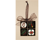 Chocolate Shop 4-piece Candies In Square Gift Box Christmas Ornament 2.75
