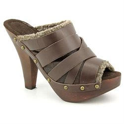 Maxstudio Aura Womens Brown Peep Toe Leather Mules Shoes