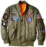 Alpha Industries Big Boys' MA-1 Bomber Jacket with Patches, Sage, Medium/10/12