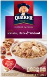 Quaker Instant Oatmeal, Raisin, Date & Walnut, Breakfast Cereal, 10-(1.3oz) Packets Per Box (Pack of 4)