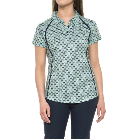 Green Come True Buckle Printed Polo Shirt - Upf 50 , Short Sleeve (for Women)