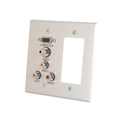 C2g 41027 Vga  3.5mm Audio  Composite Video And Rca Stereo Audio Pass Through Double Gang Wall Plate With One Decorative Style Cutout - Brushed Aluminum - Mount
