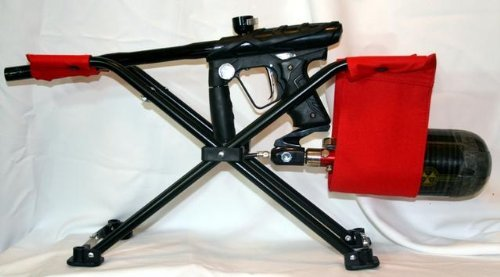 Paintball Gun Marker Stand Rest Rack, Compact, Light Weight and Foldable - Includes Carrying Bag