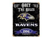 """Party Animal Ravens Vintage Metal Sign - 1 Each - Obey The Rules Print/Message - 11.5"""" Width x 14.5"""" Height - Rectangular Shape - Heavy Duty, Embossed Lettering, Rivet - Steel Type: NFL Color: Black"""