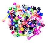 BodyJ4You® LOT 50 Pcs 14G Multi Color Assortment FLEXIBLE Tongue Rings Barbells MIX Piercing