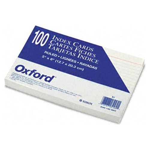 Esselte Top Quality Ruled Index Card - 5 x 8 - 85lb - 100 / Pack - White