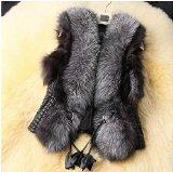 WeK Female Celeb Bein Sexy faux Fur Leather Vest Outerwear Coat Jacket waistcoat