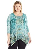 OneWorld Women's Plus Size 3/4 Sleeve Lace Sharkbite Hem Tunic Top, Water Debut/Pear, 2X