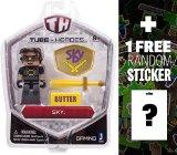 Sky: Tube Heroes Mini Action Figure Series   1 FREE Official Minecraft Mini-Sticker Sheet Bundle