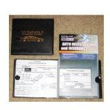Auto Car Truck Registration Insurance Document Holder Wallet Black Case Id Card