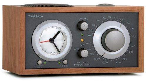 Tivoli Audio Model Three AM/FM Clock Radio, Cherry/Metallic Taupe