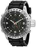 U.S. Polo Assn. Sport Men's US9047 Analog-Digital Black Dial Black Rubber Strap Watch