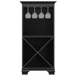 Ella Antique Black Storage Cabinet w - Stemware rack
