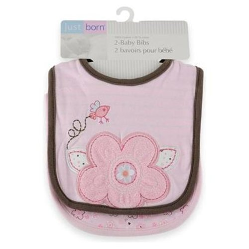 Just Born 2 Pack Bib - Color: Girl with Hearts and Flowers