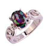 Psiroy Stunning Created Gorgeous Women's 7mm*9mm Oval Cut CZ Rainbow Topaz Ring