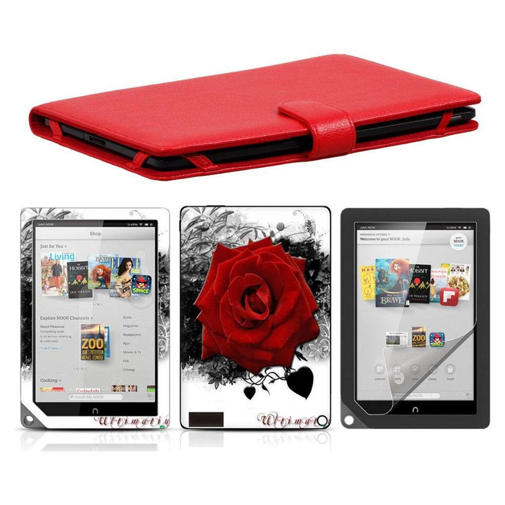 Bundle Monster Synthetic Leather Cover Skin Screen Protector-Nook HD  Combo PF03