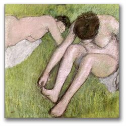 Edgar Degas 'Two Bathers on the Grass' Canvas Art