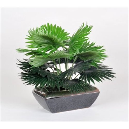Artificial Mini Fan Palm in Black & Silver Bonsai Dish