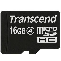 Transcend - Flash memory card (microSDHC to SD adapter included) - 16 GB - Class 4 - microSDHC