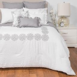CLOSEOUTS . Vintage-washed for decadent softness, Rose of Baltimoreand#39;s Woodward California King comforter set brings incredible comfort to your bedroom along with eye-catching embroidered detailing and fringed throw pillows. Available Colors: BLUSH, WHITE, GREY. Sizes: CALIFORNIA KING.