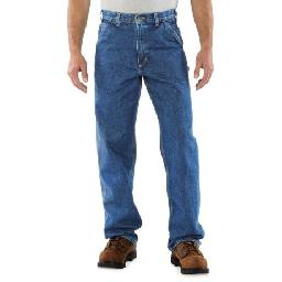 2NDS . You love the Carhartt brand because its clothing works just as hard as you do; these Carhartt Signature work dungaree jeans feature premium heavyweight 100% cotton denim for lasting wear and multiple utility pockets to carry your tools. Available Colors: STONE WASH, DARK STONE WASH, DARKSTONE.
