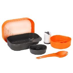 CLOSEOUTS . A complete seven-piece dining set that packs down small and weighs less than 10 ounces... youand#39;re welcome! Wildoand#39;s Camp-a-Box complete camping kit features multiple cups, bowls and a spork, complete with a cutting board and three-compartment shaker for spices. Available Colors: LEMON, LIGHT BLUE, LIME, ORANGE, OLIVE, PINK.