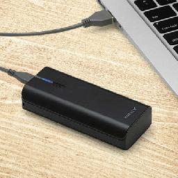 The black PowerPack T44000 1 4400mAh Rechargeable Battery from PNY Technologies extends the life of your device by up to two full charges