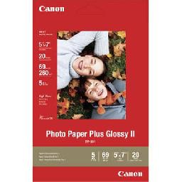 Canon Photo Paper Plus II - Glossy photo paper - 5 in x 7 in 20 sheet(s) - for PIXMA iP100  iP2600  iP3500  iP4500  mini320  MP480  MP520  MP620  MX7600  MX850  Pro9000